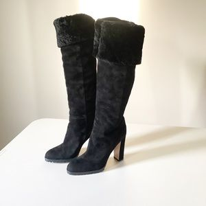 Gianvito Rossi Suede Over The Knee Shearling Boots